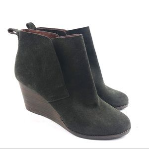 Lucky Brand Yoniana Wedge Leather Ankle Boots 12